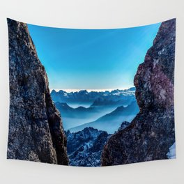 Moutain sky ice blue Wall Tapestry