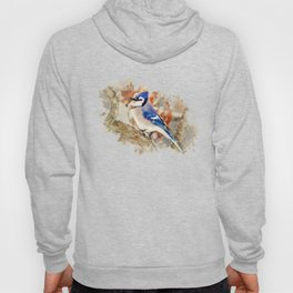 Watercolor Blue Jay Art Hoody