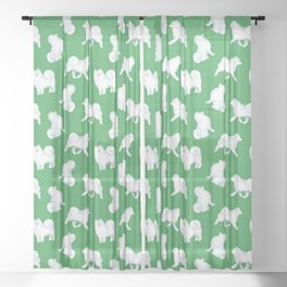 Samoyed Pattern (Green Background) Sheer Curtain