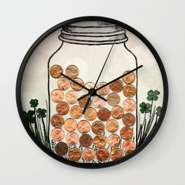 Lucky Pennies Wall Clock