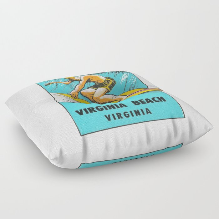 Virginia Beach Retro Vintage Surfer Floor Pillow