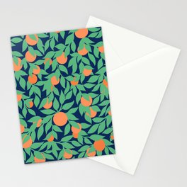 Oranges and Leaves Pattern - Navy Blue Stationery Cards