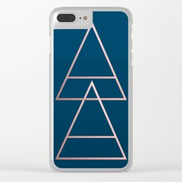 Rule of Thirds Triangles: Rose Gold & Navy Clear iPhone Case