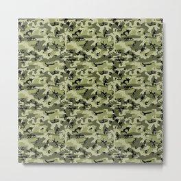 Military Camouflage Pattern - Green White Black  Metal Print