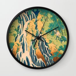 Pilgrims at Kirifuri Waterfall on Mount Kurokami in Shimotsuke Province Wall Clock