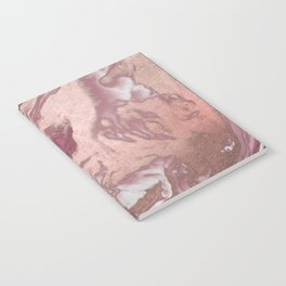 Rose Gold Pink White Painted Girly Abstract Marble Notebook