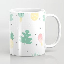 summer pattern background illustration with exotic leaves, pineapples and ice cream Coffee Mug