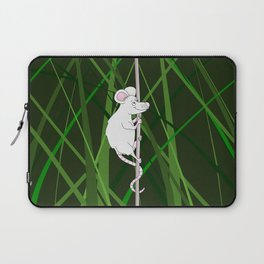 Cartoon Mouse Climbing in Grass Laptop Sleeve