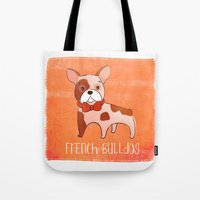 frenchie Tote Bags featuring Frenchie by 52 Dogs