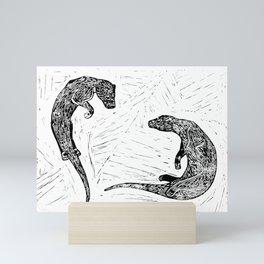 Swimming Otters Linoprint Mini Art Print