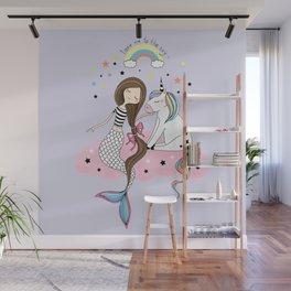 Mermaid & Unicorn Wall Mural