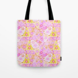 Pastel Patchwork Flower Garden, Soft Lavender, Lilac Purple and Pink Floral Quilt Repeat Pattern Tote Bag