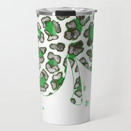 Cute Shamrock Leopard Print St Patricks Day Irish Travel Mug
