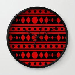 Tribal Red Pattern Wall Clock