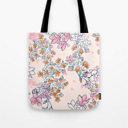 Floral - Pink & Orange Tote Bag