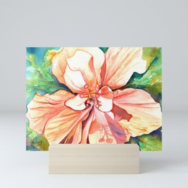 Double Peach Tropical Hibiscus Mini Art Print