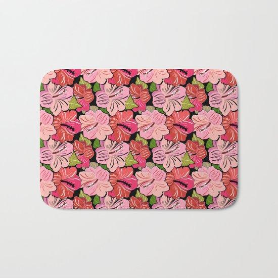 Pink Hibiscus Floral Pattern Bath Mat