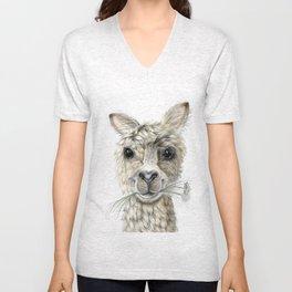 Alpaca eating Daisies Unisex V-Neck