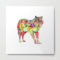 Wolf of Flowers Metal Print