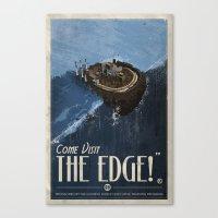 grim fandango Canvas Prints featuring Grim Fandango Vintage Travel Poster - The Edge by David MacKenzie