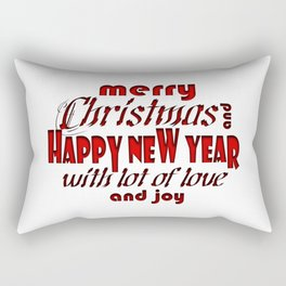 """""""Merry Christmas And Happy New Year"""" Red & Contour Font Art Rectangular Pillow"""