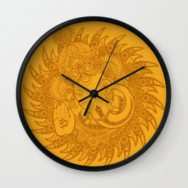 Ganesha Lineart Yellow Wall Clock