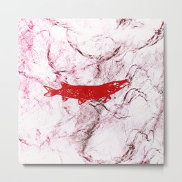 pike in the net (red version) Metal Print