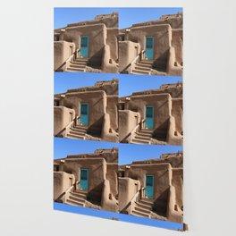 Taos Pueblo  Blue Door Wallpaper