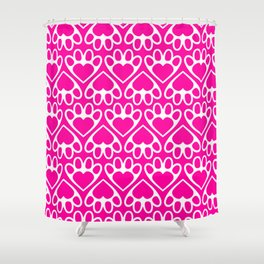 Paw Prints on my Heart - in Magenta Shower Curtain