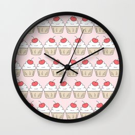 Cherry Cupcakes - Pink Doodle Pattern Wall Clock