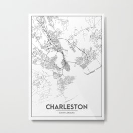 Minimal City Maps - Map Of Charleston, South Carolina, United States Metal Print