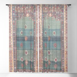 Sivas Antique Turkish Niche Kilim Print Sheer Curtain