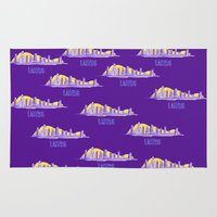 lakers Area & Throw Rugs featuring LAKERS HAND-DRAWING DESIGN by SUNNY Design
