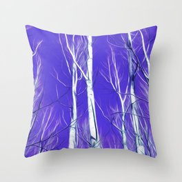 White Trees Intense Blue Sky In February Throw Pillow