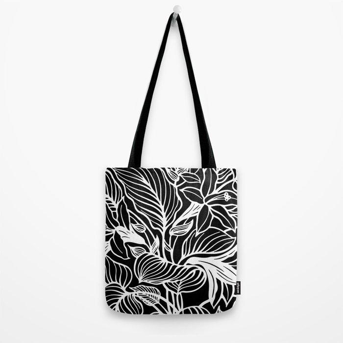 Black White Floral Minimalist Tote Bag
