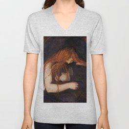 Vampire by Edvard Munch Unisex V-Neck