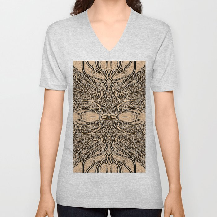 Lines Intra - Fine Line Work in Sepia and Black and Grey Unisex V-Neck