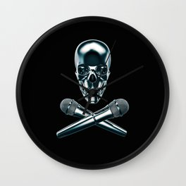 Pirate tunes / 3D render of skull and cross bones with microphones Wall Clock