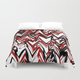 Black Red and White Zigzag Duvet Cover