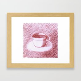 Coffee Cups Collection - #5 Coffee cup - Maroon Framed Art Print