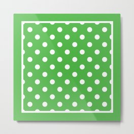 Green Polka Dots Palm Beach Preppy Metal Print