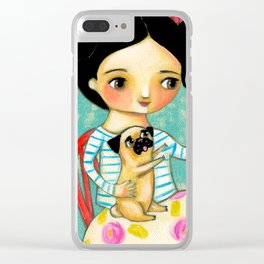 Pug wants Cupcake Treats artwork by Tascha Clear iPhone Case