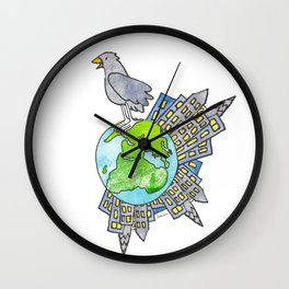 "Happy Alien Earth Bird (from the book, ""You, the Magician"") Wall Clock"