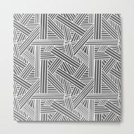 Sketchy Abstract (White & Grey Pattern) Metal Print