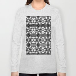Geometric Black and White Tribal-Inspired Repeat Pattern Long Sleeve T-shirt