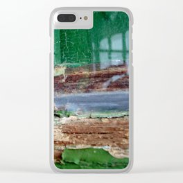 Vintage Green Window Frame 1 Clear iPhone Case
