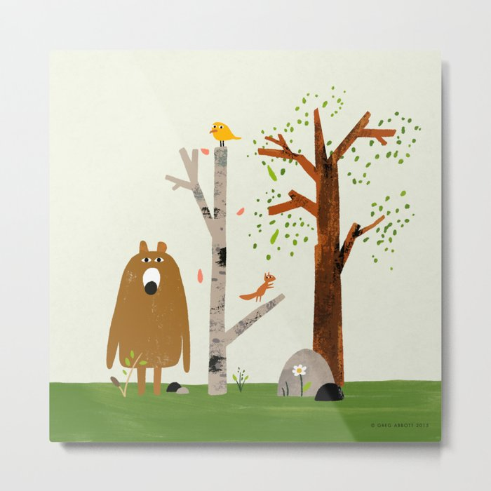 Bear, Bird and Squirrel in the Woods Metal Print