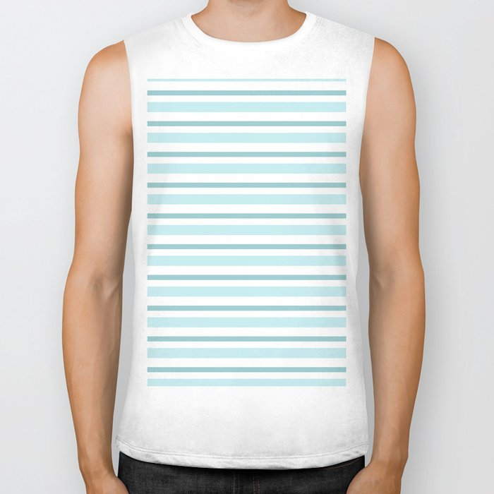 Stripes Lines horizontal - different colors of blue aqua #Society6 Biker Tank