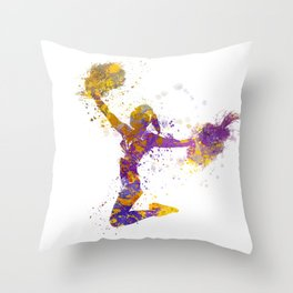 young woman cheerleader 03 Throw Pillow