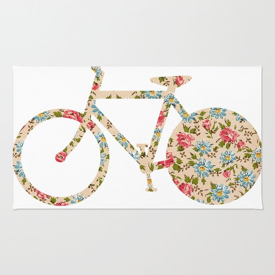 Whimsical cute girly floral retro bicycle Rug